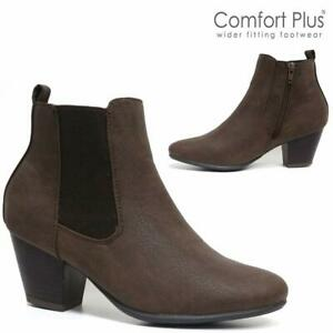 Womens Ladies Wide Fit Block High Heel Shoes New Work Ankle Office Chelsea Boots