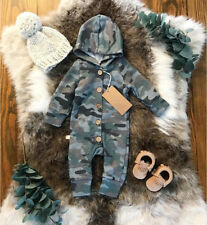 USA Kids Baby Boy Camo Romper Jumpsuit Bodysuit Hooded Clothes Sweater Outfit