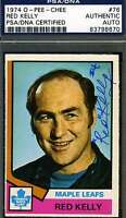 Red Kelly 1974 Opc Signed Psa/dna Certified Authentic Autograph