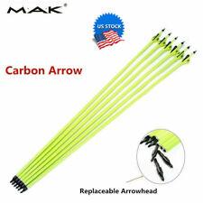 "US 6pcs 30"" Archery Carbon Arrows Plastic Vanes SP500 For Compound Bow Hunting"
