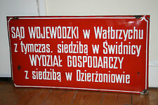 Vintage Red White Enameled Information Sign Ex Communist Country High Court