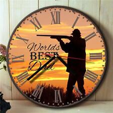 Personalised  Duck Hunt Fathers Dad Grandad Round Hanging Wall Clock Gift NR02