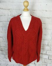 Vintage chunky cable aran hand knit rust burnt orange pure wool 16 jumper warm