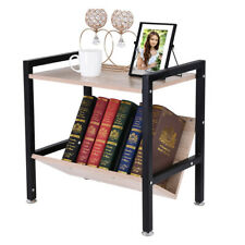 2 Tier Wooden Side End Table Storage Shelf Sofa Night Stand Living Room Office