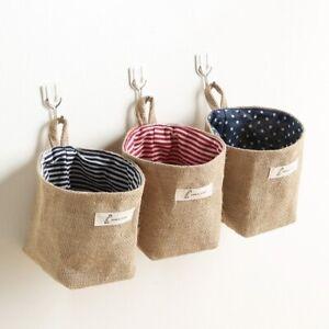 Cotton Linen Storage Bag Wall Hanging Home Organizer Waterproof Closet Pouch Art