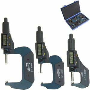 "3 pc 0-1"" 1-2"" 2-3""/0.00005"" Micrometer Digital Electronic Oustside X-Large LCD"