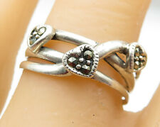 925 Sterling Silver - Marcasite Love Hearts Smooth Split Band Ring Sz 9 - R6542