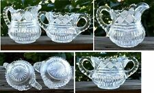 Cut Crystal Open Sugar Bowl Creamer Diamond Pattern Starburst Bottom Vintage