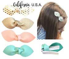 California Tot Premium Faux Leather Bow Hair Clips for Toddler Girls lot of 4 SC