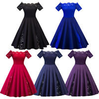 Women's Ladies 50s Style Vintage Lace Rockabilly Evening Party Retro Swing Dress