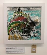 CAPE CORNWALL ST JUST CORNISH SEASCAPE ON RAG PAPER WHITE FRAMED WIRED SIGNED