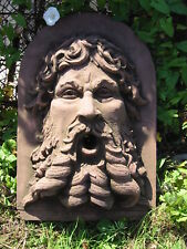 Bacchus Neptun Kopf Relief Wasserspeier Sandstein Antik Look Steinguß E 17 ROT