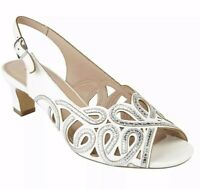 Ladies Lotus Marianna Off White Embellished Peep Toe Sling Back Sandals Size 6