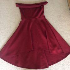Boohoo night off shoulder dress size 12 short front long back wine
