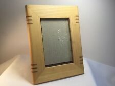 "Picture Frame Light Wood Darker Wood Inlay Photo Size 4""x 6"" Art Deco Style"