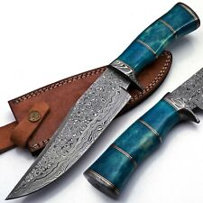 Handmade Damascus Bowie Knife 12.5 Inches 167 Layers Hammer Finished Bone Handle
