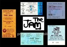 THE JAM PAUL WELLER REPLICA GIG TICKETS 1980-1982 EXCLUSIVE A4 PRINT