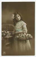 c 1914 Child Children CUTE LITTLE GIRL British tinted photo postcard