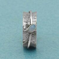 Opal Ring 925 Sterling Silver Spinner Ring Boho Ring Fidget Worry Ring 07