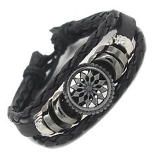 Women/Men Leather Cute Braided Cuff Wrap Bracelet Jewelry Punk Wristband Black