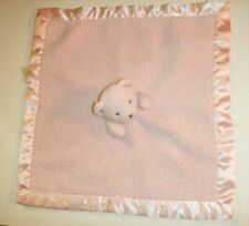 Katie Little Pink Sherpa Bear Deluxe Security Blanket Lovey Satin Trim