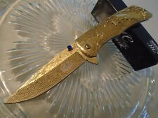 Master Collection Ballistic Assisted Open Gold Chrome Deer Pocket Knife A017GD