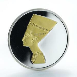Cambodia 3000 riels Ancient Egyptian Queen Nefertiti silver gilded coin 2006