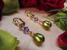 Green Freshwater Pearl Purple Lilac Crystal Lever Back Gold Plate Earrings