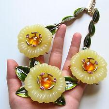 Oscar de la Renta Carved Rhinestone Yellow Enamel Flower Leaf Necklace, RARE!