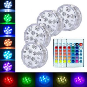 2/4x RGB LED Unterwasser Tauch Spot Licht Beleuchtung Lampe Aquarium Teich Pool