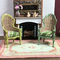 Dollhouse miniature Victorian rattan two green chairs - 1:12 scale