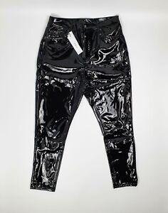 Topshop Black Vinyl Jamie High Waisted Skinny Jeans Sizes 10 12 14 All L30 BNWT