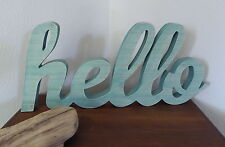 """Large Wood """"HELLO"""" Distressed AQUA Teal Whitewashed Wooden Home Decor Photo Prop"""