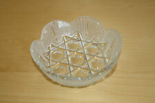 """Vintage Bohemian Crystal 6"""" Bowl Scalloped Edge Lead Glass Etched Frosted Candy"""