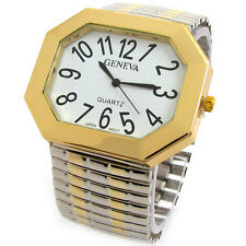 2Tone Geneva Supersize Octagon Face Wide Stretch Band Watch for Women