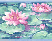 Water Lily Lilly Pads Teal Green Blue Pink Flower Floral Wall paper Border