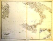 Johnston's Map - SOUTH ITALY &  SARDINIA -c1865