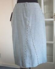 Stylish Ladies 65% Wool LIGHT BLUE Skirt Side Pockets UK 12/EUR 40 BRAND NEW!