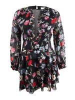 Foxiedox Women's Alva Embellished Mini Fit & Flare Dress (L, Black Floral)