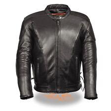 Men's Leather Side Lace Vented Racer Jacket
