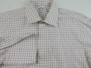 Brooks Brothers Mens LS Button Up Pink White Plaid Dress Shirt 15.5-34 USA Made