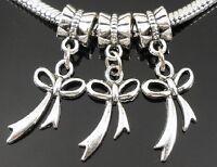 30pcs Tibetan Silver Bowknot Dangle Charms Beads Fit European Bracelet ZY23
