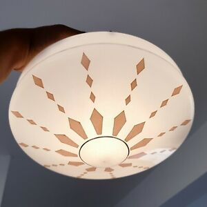 Vintage White & Pink Art Deco Hanging Glass Fly Catcher Ceiling Light Shade