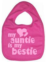 """Auntie Baby Bib """"My Auntie is my Bestie"""" Love Aunt Aunty Niece Nephew Gift"""