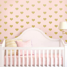 200 x Baby Nursery Gold Heart Wall Stickers Wall Decals Bedroom Mural Decor