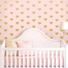 200 X bebé vivero Oro Corazón Pegatinas De Pared Decoración de pared Calcomanías Dormitorio Mural