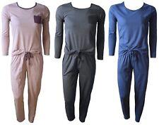 Damen Schlafanzug Pyjama,in 3 Farben, Rundhals, Seitentaschen, Größen S-XL 36-50