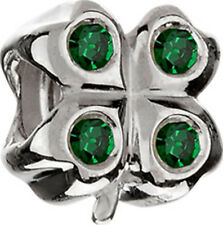 AUTHENTIC CHAMILIA STERLING SILVER LUCKY CLOVER JA-49 GREEN CZ CHARM NEW BEAD