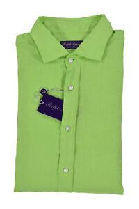 Ralph Lauren Purple Label Lime Green Linen Dress Shirt New $395