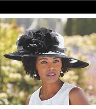 Ashro Jack McConnell Black White Floral Easter Church Social Sun Hat
